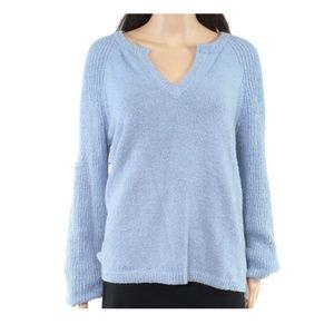 INC Womens Sweater Blue V-Neck Fuzzy Pullover